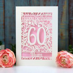 Personalised Papercut Flower Birthday Card by Pogofandango, the perfect gift for Explore more unique gifts in our curated marketplace. 60th Birthday Cards, Flower Birthday Cards, Homemade Birthday Cards, Homemade Cards, Happy Birthday, Greeting Card Shops, Milestone Birthdays, Colored Paper, Color Card