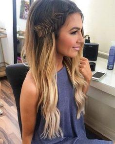 ombre hair + side braid