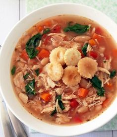 Easy Slow Cooker Tuscan Chicken Soup | AllFreeSlowCookerRecipes.com