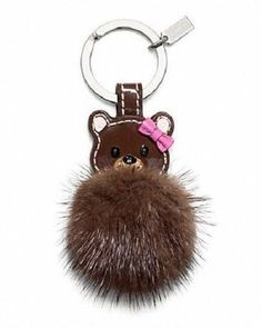 COACH Keychain LEATHER MINK TEDDY BEAR Fur Keyring Key Fob NEW IN BOX #Coach