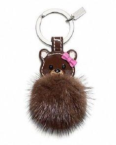 COACH Keychain LEATHER MINK TEDDY BEAR Fur Keyring Key Fob NEW IN BOX #Coach