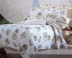 Coastal Sand Dollar Starfish Seashell Tan Taupe and Gray Quilt Set