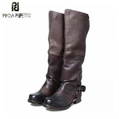 Prova Perfetto Leather High Quality Knee High Boots For Women Match Color Winter Belt Buckle Side Zipper Long Bota Riding Boots Long Boots, Knee High Boots, Black Boots, Buckle Boots, Belt Buckles, Women's Boots, Leather Flats, Cow Leather, Martin Shoes