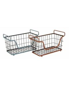 Set of Two Rustic Metal Baskets in Blue and Red -  will definitely aid you in the best possible manner. Keep washed dishes or dirty dishes in these baskets, or there are many things from the kitchen can be accommodated. Plus, they have a rustic look. This will make them most suitable for homes that have traditional themes.