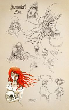 """""""Annabel Lee"""" sketches for iPoe Collection [by David G. Forés] #EdgarAllanPoe www.ipoecollection.com"""