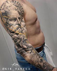Posseidon Tattoo, Zues Tattoo, Tattoo Arm Mann, Forarm Tattoos, Leg Tattoo Men, Arm Tattoos For Guys, Body Art Tattoos, Hand Tattoos, Full Sleeve Tattoos