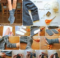This step by step tutorial of how to make homemade recycled sweater slipper boots is a frugal project to recycle an old sweater into a way to warm up cold feet. Old Sweater, Sweaters, Upcycled Sweater, Sweater Boots, Wooly Jumper, Diy Fashion, Winter Fashion, Fashion Ideas, Fashion Design