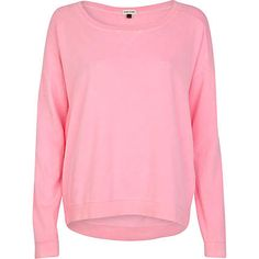 Bright pink dip hem sweatshirt - sweaters / hoodies - t shirts / vests / sweats - women
