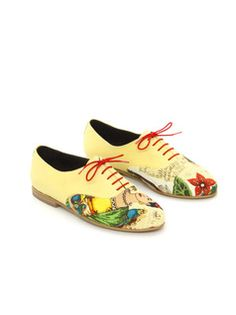 wtf?   Oxford shoes,Flats, Andy, Light Yellow Leather Or Vegan Leather and Floral Print Fabric Women's shoes
