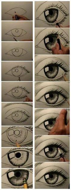 een oog tekenen volgens een vast schema waardoor licht en donker (schaduw) plasticiteit ontstaat. (lijkt als of het oog rond is)