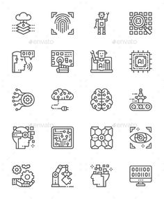 Buy Set Of Artificial Intelligence Line Icons. Pack Of Pixel Icons by studicon on GraphicRiver. Hello, Attached ZIP folder contains: Line icons px Artificial Intelligence Article, Artificial Intelligence Algorithms, Machine Learning Artificial Intelligence, Computer Chip, Computer Icon, Technology World, Ink Illustrations, Line Icon, Icon Set