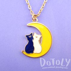 Luna and Artemis Silhouette on a Crescent Moon Shaped Pendant Necklace | Sailor Moon