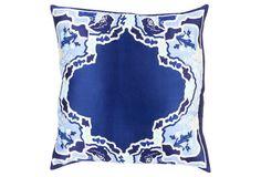Geisha Silk Pillow, Navy