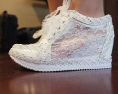 Wedding Shoes Sneakers White Wedge Lace High by WeddingShoeHeaven #wedding #weddings #bride #weddingday #sneakers #weddingshoes