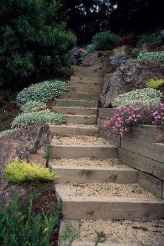 Backyard Hillside Landscaping Ideas Best Landscaping Ideas For . Landscape Stairs, Garden Landscape Design, Landscape Designs, Spring Landscape, Steep Gardens, Back Gardens, Outdoor Gardens, Landscaping On A Hill, Landscaping Ideas