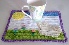 mug rug bunny coaster