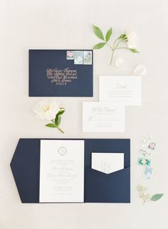 Ivory, pale blush, navy and gold accents wedding invitations: http://www.stylemepretty.com/2016/09/13/white-navy-gold-wedding/ Photography: KT Merry - https://www.ktmerry.com/