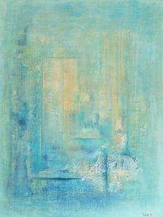 Stillhetens tjern 80x60 cm.  Akryl på lerret m/ strukturer (mixed media).      Bildet er i fargene:  Off-white, krem, lys okergul, lys blå. lys sjøgrønn, turkis, petrol, havblå, midnattsblå.      For å se detaljer eller strukturer osv. i maleriet, kan du klikke opp bildet eller bevege musepekeren over bildet.