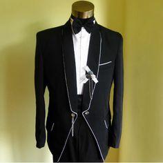 Mens Black Vintage Edwardian Style Dress Wear Wedding Prom Tux Tuxedos SKU-123108