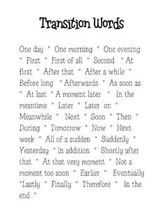 transition words    I am going to make an anchor chart with these