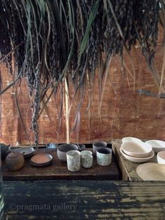 """Picnic at pragmata"" Ceramics by Yukiharu Kumagai, Akihiro Nikkaido, Takayuki Watanabe, Masaomi Yasunaga. 「プラグマタでピクニック」 陶器: 熊谷幸治、二階堂明弘、わたなべ たかゆき、安永正臣。"