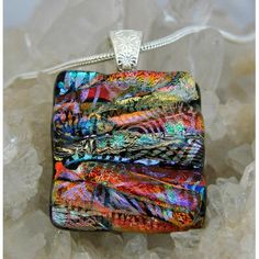 $24.00 Picasso Style Dichroic Glass Pendant includes necklace PS61 by DichroicCreations on Handmade Australia