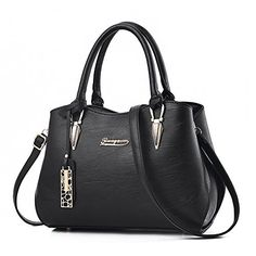 6138e8280337b BESTOU Damen Handtasche Schwarz groß Leder Damen Schultertasche Frauen  Umhängetasche (Schwarz) Umhängetasche Schwarz