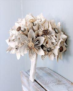 Paper Wedding Bouquet, Alternative Bouquet, Kusudama bouquet, Origami bouquet, Book page flowers, Book page bouquet, Wedding bouquet by TheFlowerGirlSouth on Etsy https://www.etsy.com/ca/listing/175804807/paper-wedding-bouquet-alternative