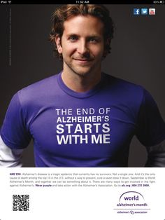 "Bradley Cooper for the Alzheimer's Association ****** I WOULD LOVE TO HAVE HIM ON MY TEAM WALKING BESIDE ME **** Hey Bradley, what do you think? Join Junes Boopelinas, it means ""sweet dolly' and you are that sir, mighty, mighty sweet!! Thank you for supporting the cause. You look good in purple, we -ALL- look good in purple!"