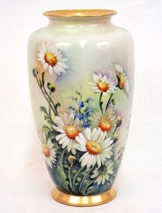 Hand painted porcelain vase, daisies and corn flowers