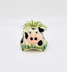 Cow Ceramic or Pottery Animal Bowl for Succulents, Change, Food, Candles, Trinkets or Jewelry in Stonewear Pottery Animals, Ceramic Animals, Holding Flowers, Inside The Box, Pottery Designs, Studio Art, White Clay, Black Spot, Art Studios