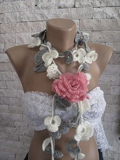 Crocheted   lariat-f from Svetoks waits to you to flower garden by DaWanda.com
