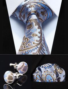 "Party Wedding Classic Pocket Square Tie TZP11B8 Blue Brown Paisley 3.4"" Silk Men Tie Necktie Handkerchief Cufflinks Set"