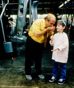 Danny DeVito Mara Wilson on the set of 'Matilda' 1996.