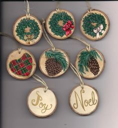 "Handmade, hand painted 2"" wood slice Christmas decorations. $4.00 each, shipping $2.95"