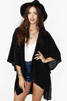 Zig Zag Velvet Kimono - Kimono |  |