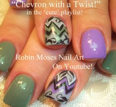 Nail-art by Robin Moses Chevron with Filigree