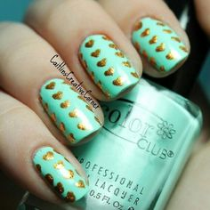 Teal / turquoise / mint Nails with Gold Metallic Hearts ... | Nail Art
