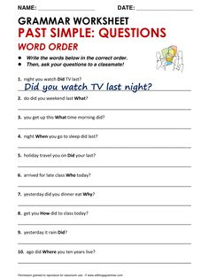 English Grammar Past Simple: Questions - Word Order www.allthingsgrammar.com/word-order.html