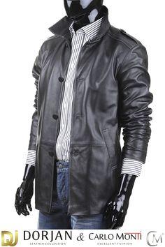 Płaszcz skórzany męski DORJAN BIL950 - Płaszcze skórzane