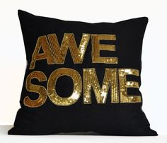 Awesome Throw Pillow Cover Black Gold Decorative by AmoreBeaute