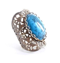 Vintage Filigree Ring  Adjustable Gold Tone Jewelry, Blue Stone by MaejeanVINTAGE, $22.00