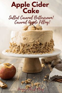 The perfect fall cake for a special occasion or holiday. Sweet and fall spiced apple cider cake, gooey caramel apple filling and salted caramel buttercream. recipes Apple Cider Cake with Salted Caramel Buttercream Apple Desserts, Fall Desserts, Apple Recipes, Just Desserts, Baking Recipes, Dessert Recipes, Spice Cake Recipes, Holiday Recipes, Cake Filling Recipes