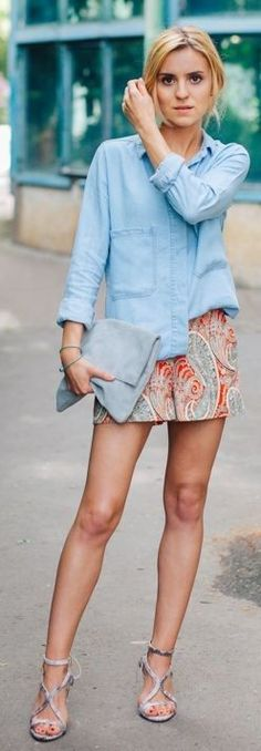 #summer #shorts #trend #outfitideas | Paisley Print Shorts Summer Style + Chambray
