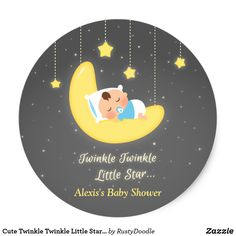 Cute Twinkle Twinkle Little Star Baby Shower Classic Round Sticker
