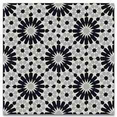 Moroccan Mosaic Tile House Agdal x Handmade Cement Tile in BlackWhite Color: Black/Gray Ceramic Floor Tiles, Bathroom Floor Tiles, Wall Tiles, Tile Floor, Kitchen Backsplash, Floor Rugs, Bathroom Wall, Master Bathroom, Bathroom Ideas