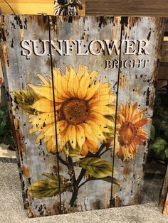Colorful Sunflower Wooden Sign Wall Decor - All For Decorations Sunflower Wall Decor, Sunflower Crafts, Sunflower Kitchen Decor, Sunflower Art, Sunflower Paintings, Sunflower Design, Wood Pallet Art, Pallet Painting, Tole Painting