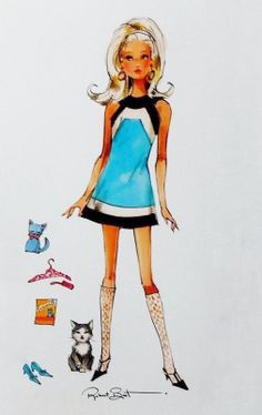 (¯`'•.ೋ…          Robert Best- Fashion Designer for Barbie Robert Best Kitty Corner Francie Artwork