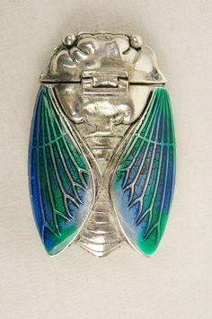 Antique Insect Cicada Bug Beetle Scarab Moth Silver Plate and Enamel Set Vesta Case
