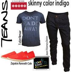 mens outfit shinny indigo